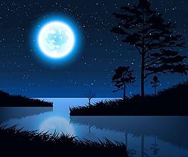 月光下的湖面和草木矢量