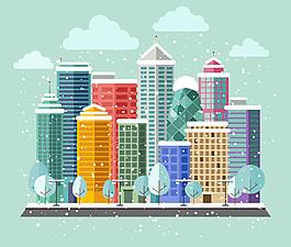 冬天里的彩色建筑