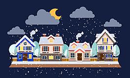 冬天夜晚雪中的建筑
