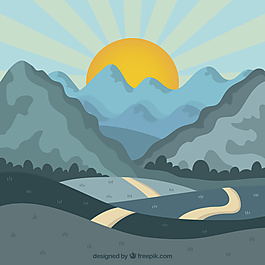 日落时有山有路的风景