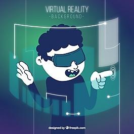 男孩背景与虚拟现实