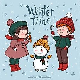 可爱儿童雪人的背景