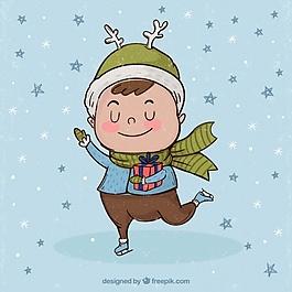 復古小男孩與冬季服裝的背景