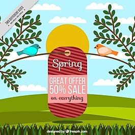 帶禮品標簽的春季景觀背景