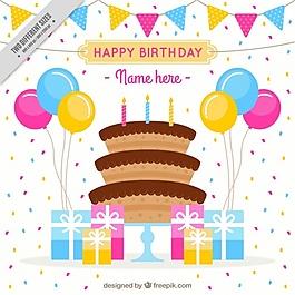 五彩的背景與生日蛋糕