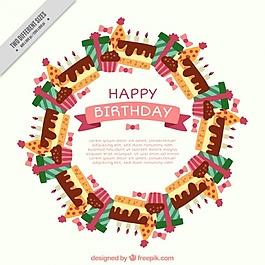 生日蛋糕花圈背景和禮物