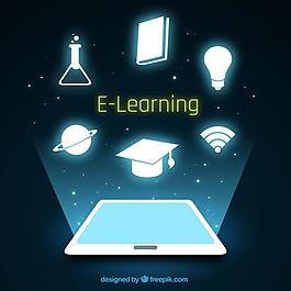 平板电脑和闪亮物体的数字教育背景