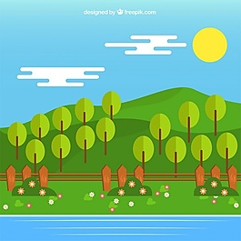 綠樹與河流的綠色草地景觀