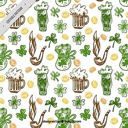 用三葉草和其他元素的啤酒草圖模式