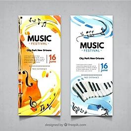 小提琴、钢琴音乐节横幅