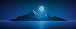 月亮下的山峰