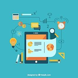平板学习背景,平板电脑和教育用品