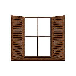3D褐色窗戶元素