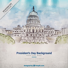 总统日的水彩背景
