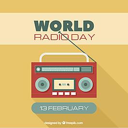 黄色收音机世界日背景平面设计