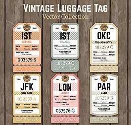 复古纸质行李牌设计矢量