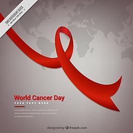 世界癌症日背景与世界地图和丝带