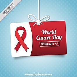 蓝色斑点背景与标签挂在世界癌症日