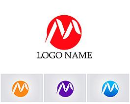 彩色圓形字母M標志圖片