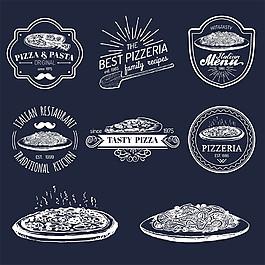 黑白手繪披薩標志圖片