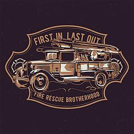 老式消防车图片
