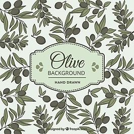橄欖背景手繪風格