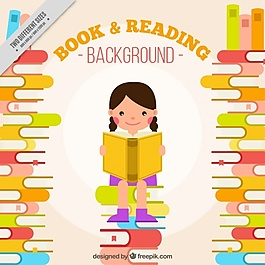 快乐女孩读书的美丽背景