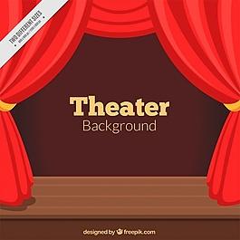 剧院背景有红色的窗帘和木制的舞台