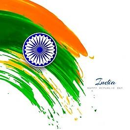 印度共和国日,水彩颜料的背景