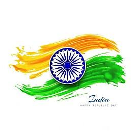 印度共和国水彩背景日