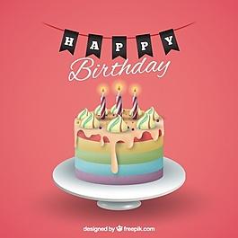 帶蛋糕的生日背景
