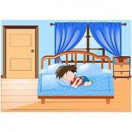 睡在床上的男孩