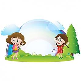 在草地上玩耍的女孩