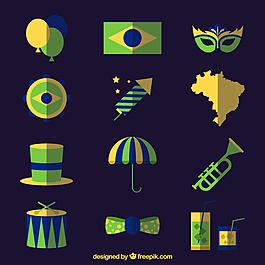 平面设计中巴西狂欢节配件的收藏