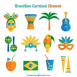 平面设计中巴西物体的收集