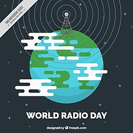 无线电世界日背景平面设计