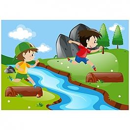 在河上玩耍的孩子们