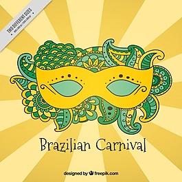 背景:巴西狂欢节面具