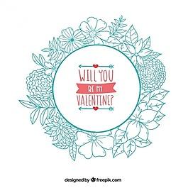 手繪花卉花環背景與愛的信息