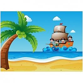 到达岛屿背景的船
