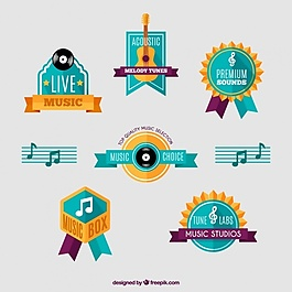 平板设计中的乐器徽章
