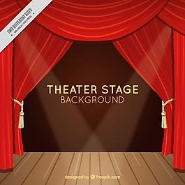剧院舞台背景与红色窗帘