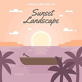 棕榈树和小船的热带景观背景