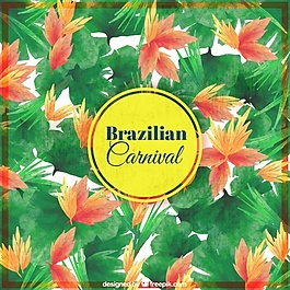 巴西狂欢节水彩叶的背景