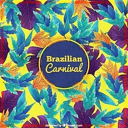 巴西狂歡節彩色水彩葉的背景