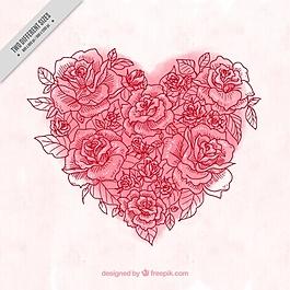 水彩背景玫瑰素描