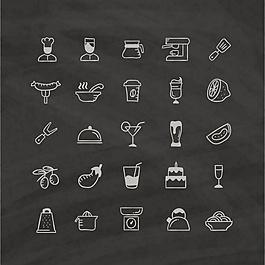 黑色背景下的食物圖標