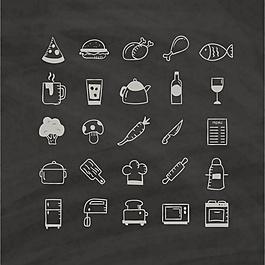 手繪黑色背景的食物圖標