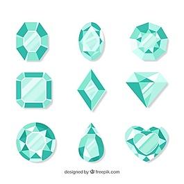 綠色寶石的扁平包裹