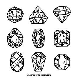 各种宝石手绘风格